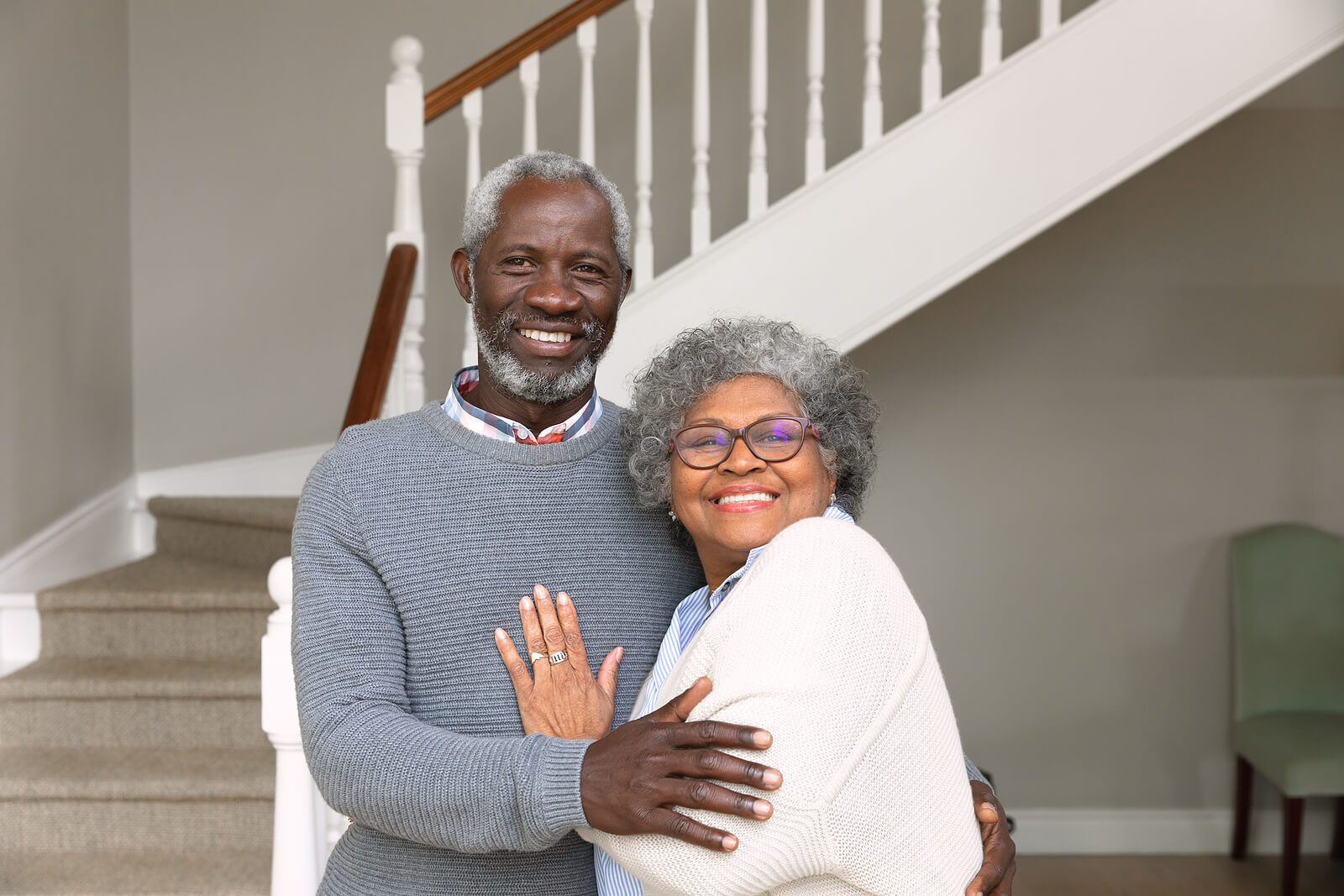 Senior couple enjoying their aging in place home modifications