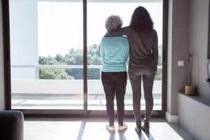 daughter and mother think about senior home care